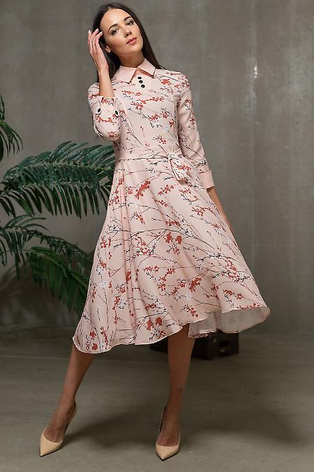 Платье в цветы с розовой горловиной. Деловая  одежда