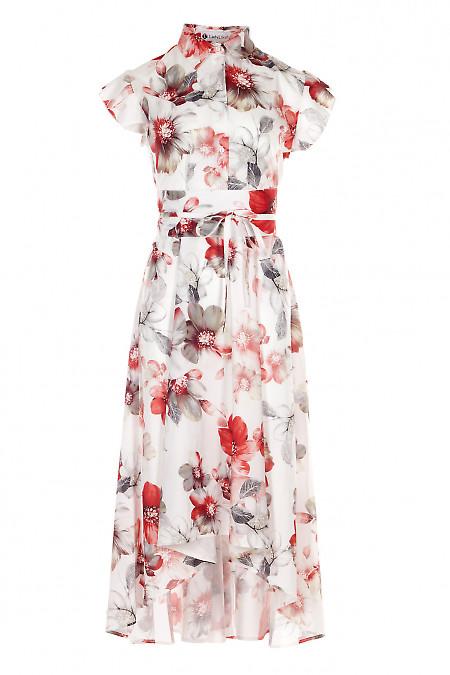 Сукня в червоні маки. Діловий жіночий одяг.