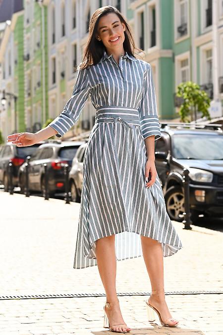 Платье в оливковую полоску. Деловая женская одежда