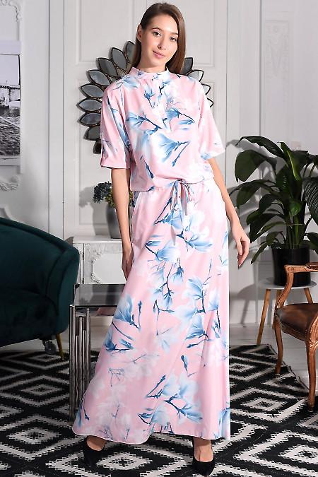 Платье в пол розовое в розовые лилии. Деловая женская одежда