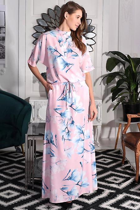 Длинное розовое платье фото