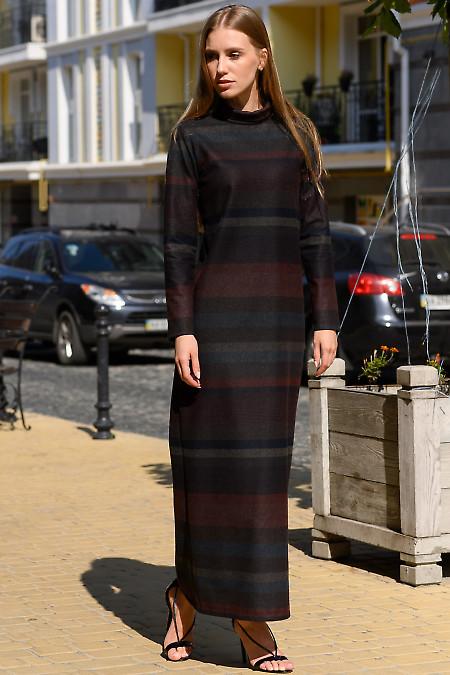 Платье в пол в коричневую полоску. Деловая женская одежда