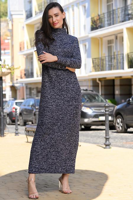 Платье в пол в серый узор. Деловая женская одежда