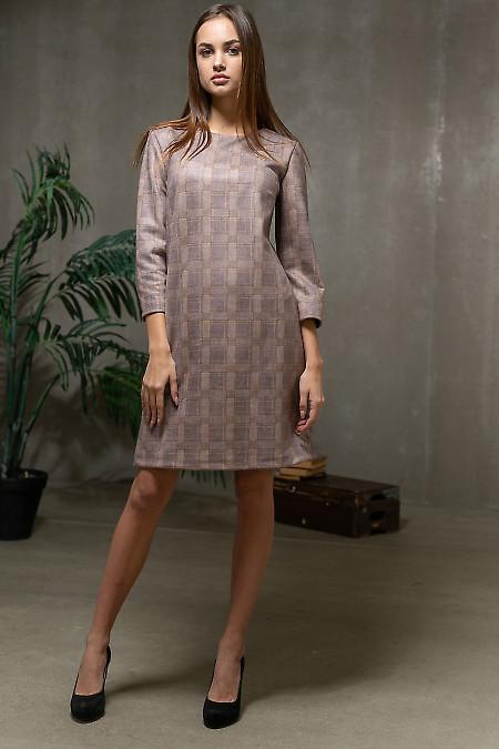 Платье замшевое в светлую клетку. Деловая одежда