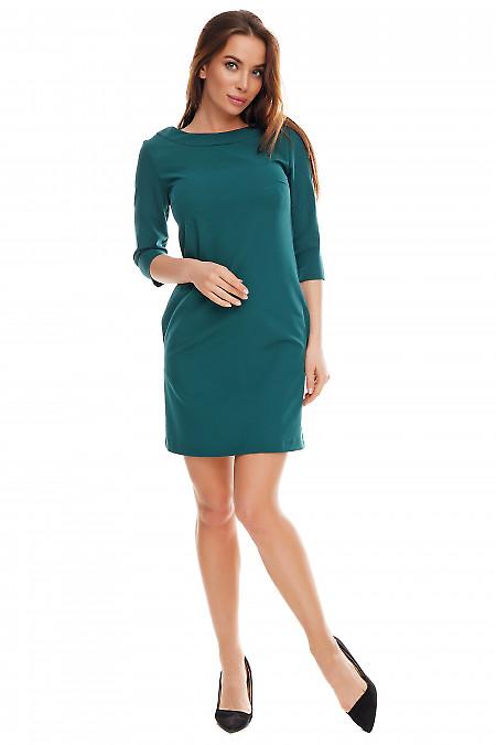 Платье зеленое короткое. Деловая женская одежда фото