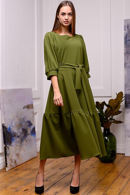Платье зелёное с рукавом фонариком. Деловая одежда