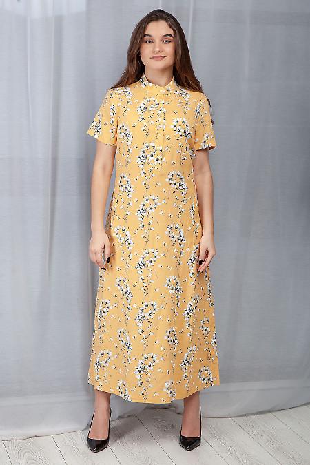 Платье желтое льняное в пол. Деловая женская одежда фото