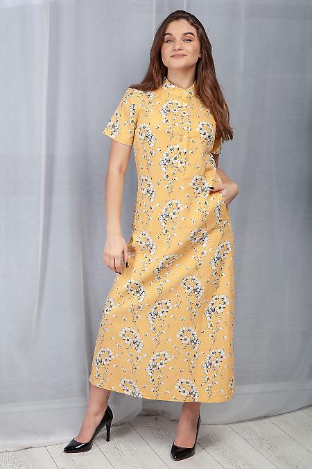 Купить платье желтое льняное в пол. Деловая женская одежда фото