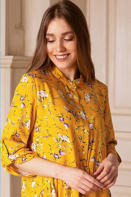 Купить платье желтое в цветы с оборкой. Деловая женская одежда фото