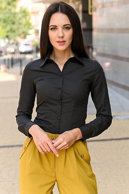 Рубашка чёрная женская классическая. Деловая одежда