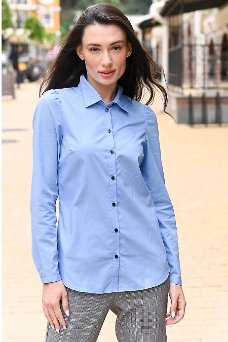 Рубашка женская голубая. Деловая женская одежда