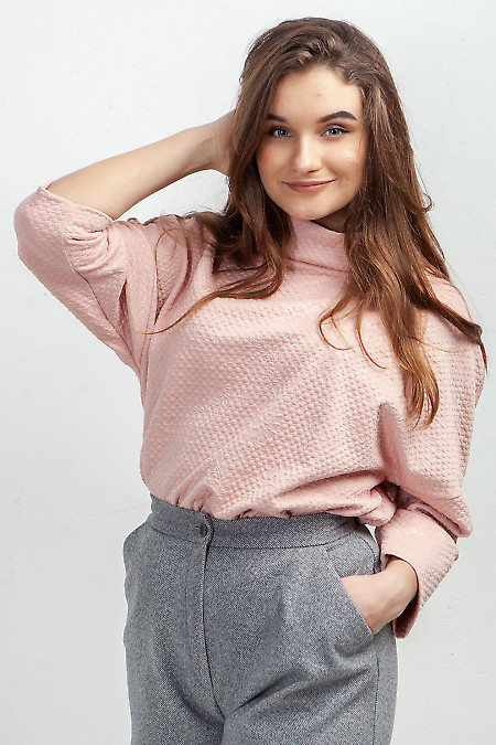 Туника розовая с манжетами. Деловая женская одежда фото