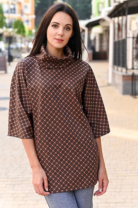 Туніка в коричневу клітку подовжена. Діловий жіночий одяг
