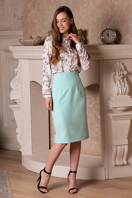 Купить юбку-карандаш бирюзового цвета. Деловая женская одежда фото