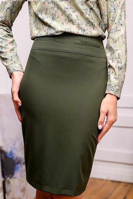 Юбка карандаш темно-зеленого цвета. Деловая женская одежда