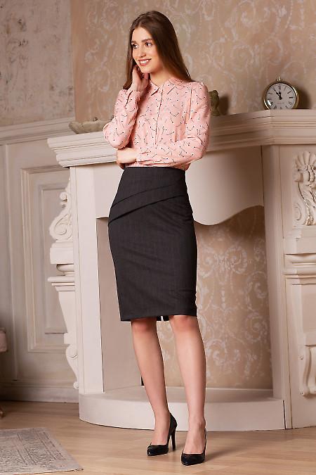 Купить юбку коричневую в клетку. Деловая женская одежда фото