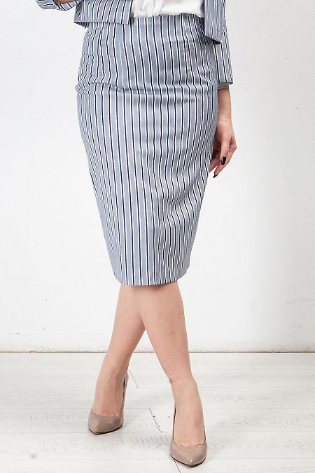 Купить юбку полосатую голубую. Деловая женская одежда фото
