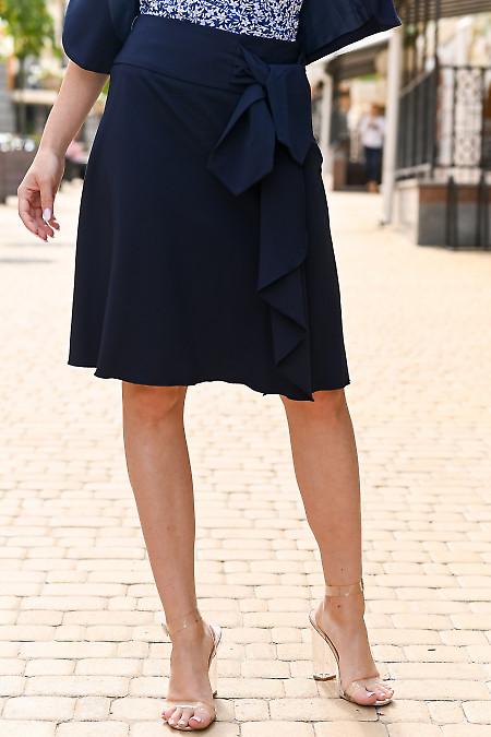 Юбка синяя с оборкой и бантом. Деловая женская одежда
