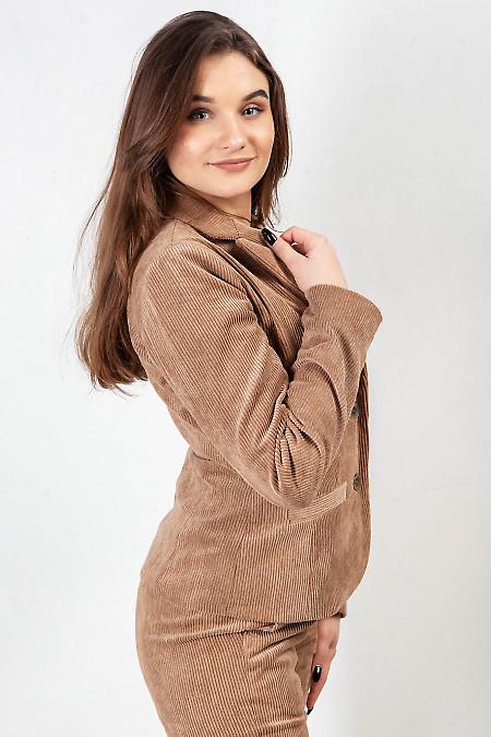 Жакет женский из бежевого вельвета. Деловая женская одежда фото