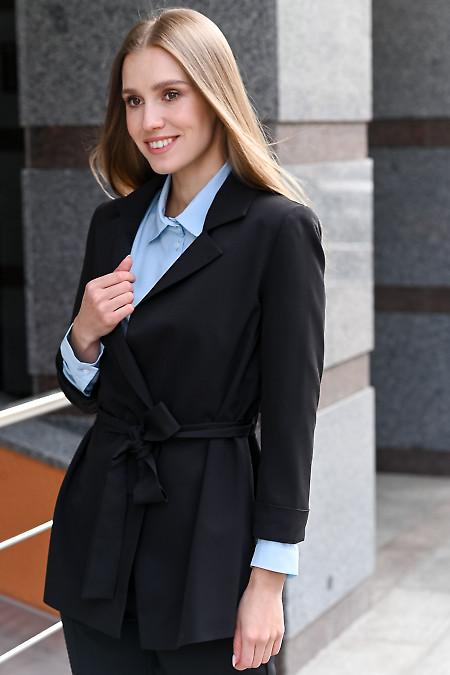 Жакет чёрный женский с поясом. Деловая женская одежда