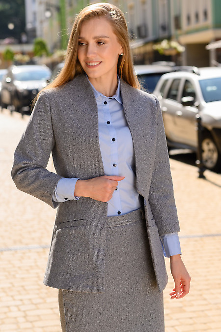 Жакет кардиган тёплый в синюю полоску. Деловая одежда