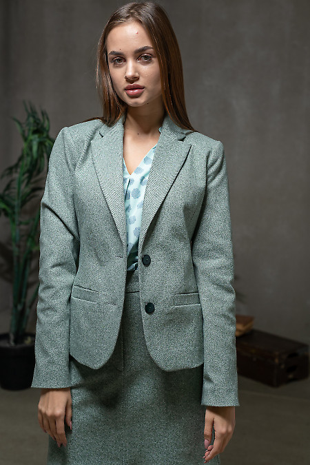 Жакет тёплый в зелёную елочку. Деловая женская одежда