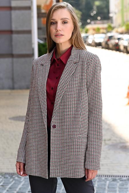 Жакет в бордово-белую лапку. Деловая женская одежда