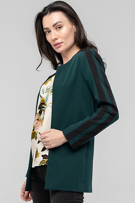 Зеленый жакет из костюмной ткани