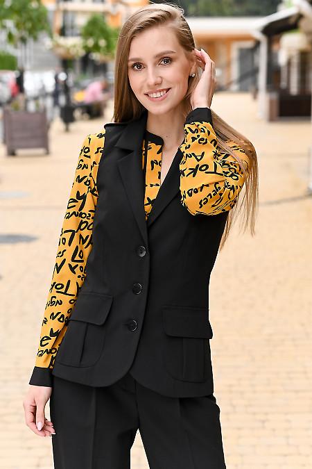 Женский черный жилет из костюмной ткани фото