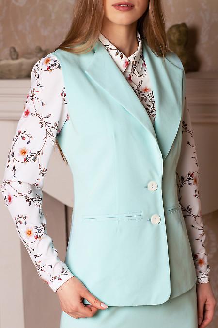 Купить мятный жилет удлиненный. Деловая женская одежда фото