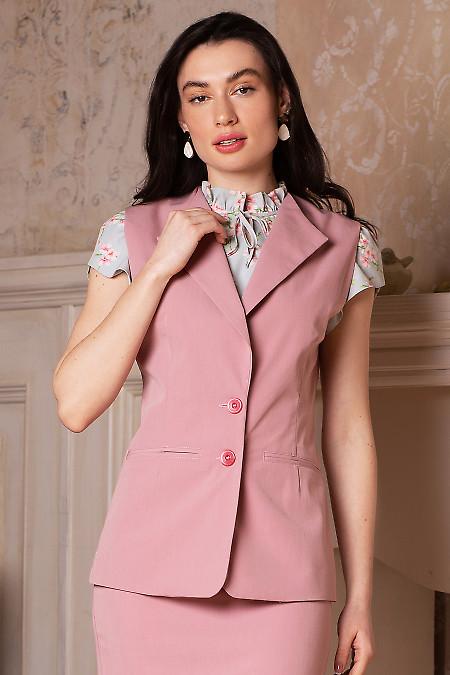 Жилет розовый удлиненный. Деловая женская одежда фото