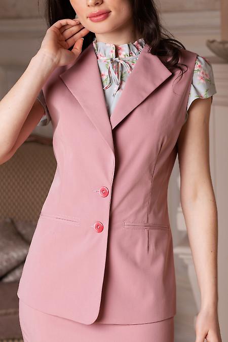 Удлиненный розовый жилет из костюмной ткани фото