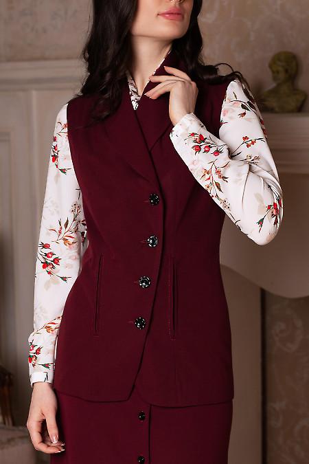 Бордовая жилетка с костюмной ткани
