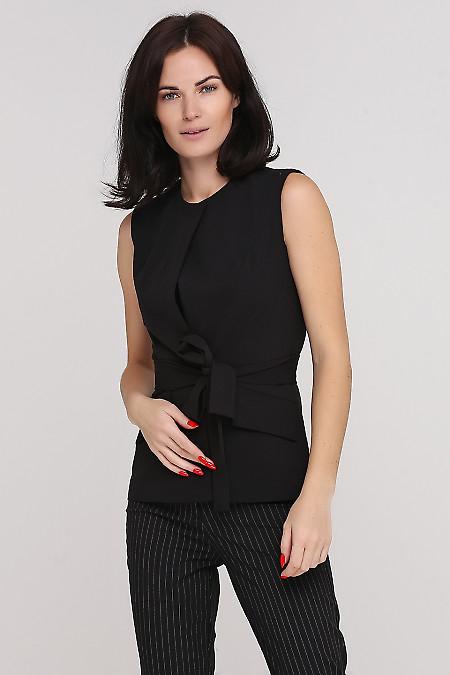 Жилетка под пояс черная Деловая женская одежда фото