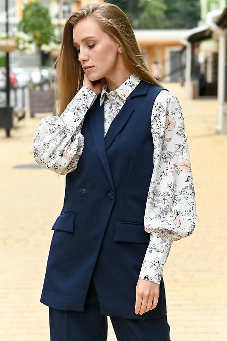 Женский синий жилет фото
