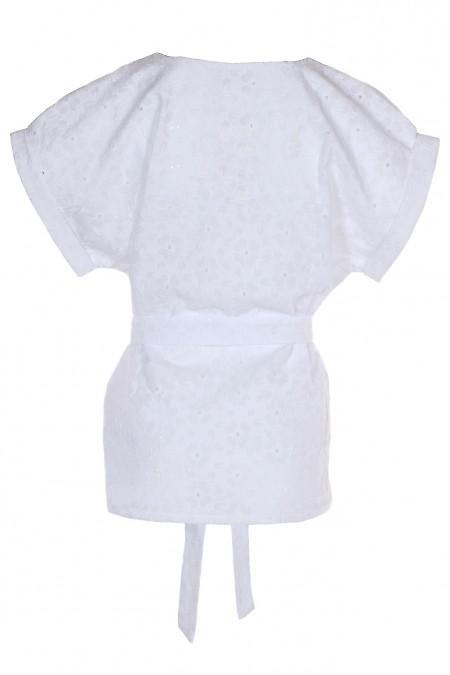 Купити білу блузку з поясом. Діловий жіночий одяг.
