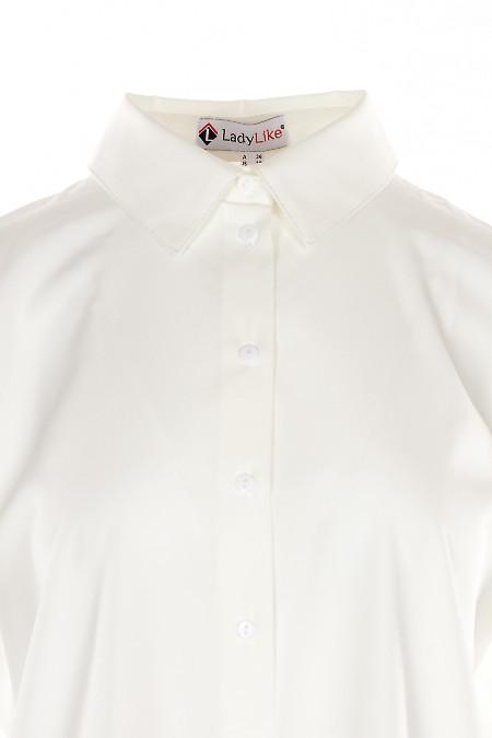 Купить блузку белую оверсайз с манжетой. Деловая женская одежда фото