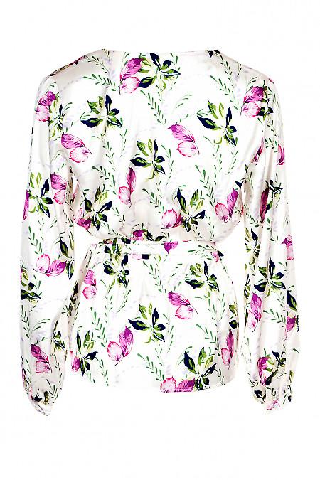 Купити ошатну молочну шовкову блузку. Діловий жіночий одяг.