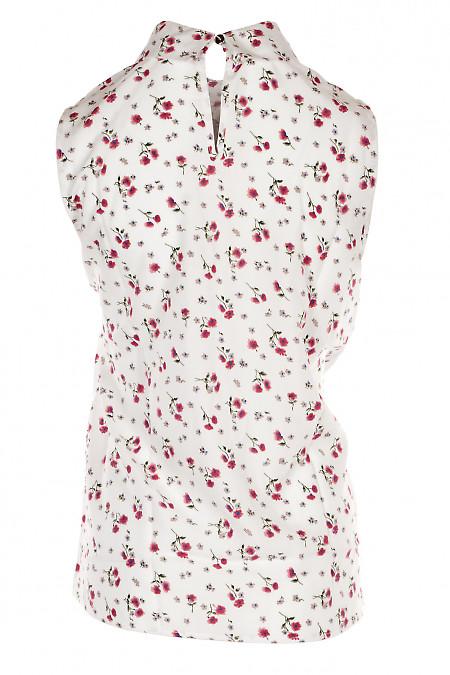 Купить белую блузку с жабо из штапеля. Деловая Женская Одежда фото