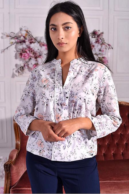 Блуза біла в ніжну квітку. Діловий жіночий одяг