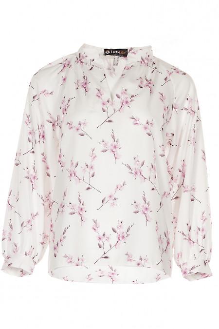 Блузка біла в рожеві квіти Діловий жінчий одяг фото