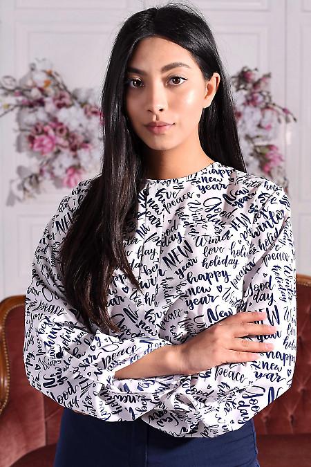 Блуза біла у візерунок з бантовою складкою. Діловий жіночий одяг