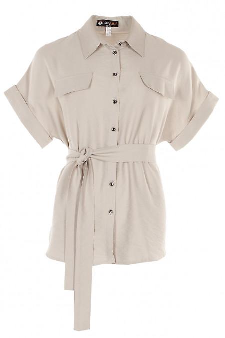 Блузка бежева під пояс Діловий жіночий одяг фото