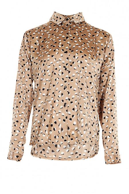 Блузка бежевая с пуговицами сбоку. Деловая женская одежда фото