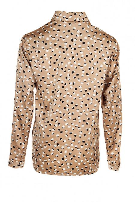 Блузка оверсайз бежевая с пуговицами сбоку. Деловая женская одежда фото