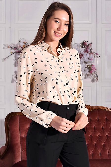 Блуза бежева в чорні квіти. Діловий жіночий одяг