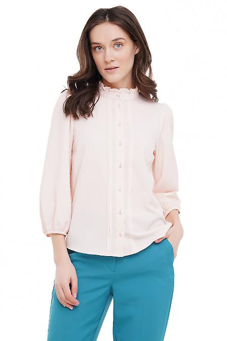Блузка бледно-розовая с рюшечкой Деловая Женская Одежда фото