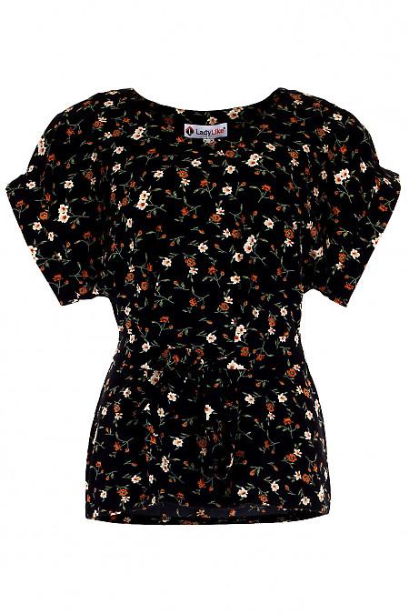 Купити чорну блузку в руді квітки. Діловий жіночий одяг.