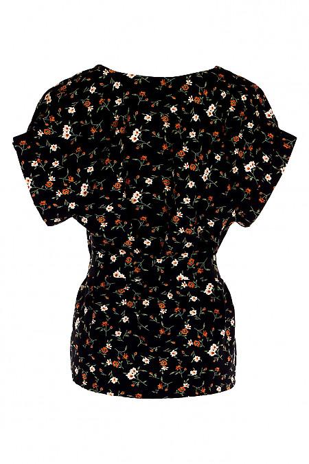 Купити чорну блузку в руді квітки з поясом. Діловий жіночий одяг.