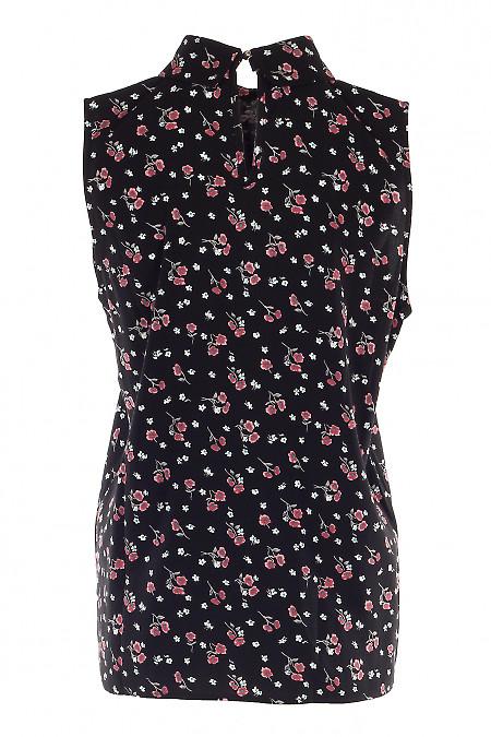 Купить летнюю черную блузку. Деловая женская одежда фото